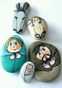 Paint a stone Nativity