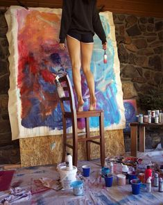 Sarah Sandin at work. I like the simplicity of a girl, her ladder and brush, and the unstretched work, simply tacked on plywood. Inspiration requires work - grab it! Bel Art, Art Hoe, Oeuvre D'art, Artist At Work, Artist Life, Art Studios, Artsy Fartsy, Art Inspo, Art Photography