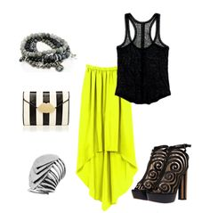 Neon with black! Not too sure about the shoes lol
