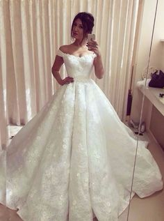 Ball Gown Charming wedding dress, lace wedding dress, cheap wedding dress, cheap wedding gown, bridal wedding dress