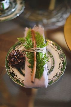 Quirky Winter Place Setting - Cinnamon, Pinecone + Green China