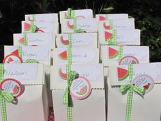 Goodie bags for daughter's watermelon themed first birthday