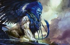 Sphinx of Uthuun by Kekai Kotaki Sphynx, Magical Creatures, Fantasy Creatures, Magic The Gathering, Dark Fantasy, Fantasy Art, Le Sphinx, Dnd Monsters, Fantasy Monster