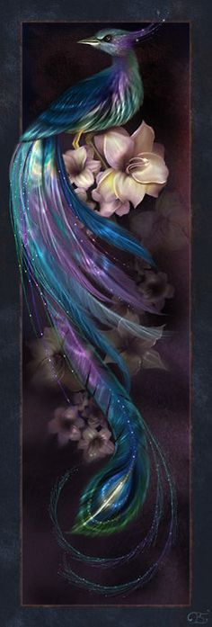Nightshimmer by enayla aka Linda Bergkvist Epl #bird; shimmering; blue; purple; green; flowers