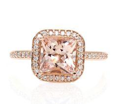 14K Rose Gold Morganite Engagement Ring Princess Diamond Halo Morganite Ring Custom Bridal Jewelry