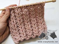 Rib Stitch Knitting, Knit Purl Stitches, Lace Knitting Patterns, Knitting Stiches, Knitting Designs, Hand Knitting, Rib Knit, Crochet Cord, Crochet Mandala Pattern
