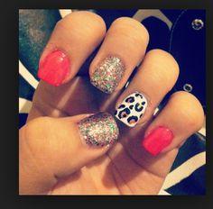 Glitter Nails and Cheetah Spots