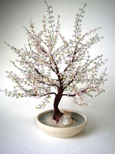 Spring Bonsai  Beaded Bonsai tree by copperglass on Etsy
