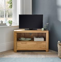 Great in compact living rooms for TV & media player storage. Made from solid oak in a natural finish. Shop Romsey now! Oak Corner Tv Unit, Corner Tv Cabinets, Living Room Wall Units, Ikea Living Room, Oak Furniture Land, Corner Furniture, Oak Tv Cabinet, Tv Wall Decor, Apartment Interior