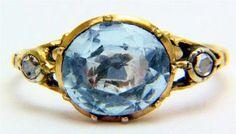 Georgian era gold ring w/center aquamarine and side diamonds
