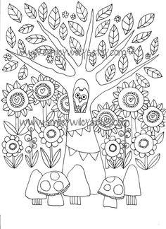 Felice giardino stampabile colorazione libro pagine Set di 5 pagine diverse