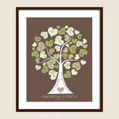 Family Tree Personalized with your Loved Ones, Names in Hearts as Leaves, Pick Your Own Colors