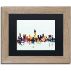 Trademark Fine Art Austin Texas Skyline Blue Canvas Art by Michael Tompsett, Black Matte, Birch Frame, Size: 11 x 14, Multicolor