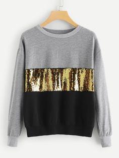 SHEIN Multicolor Contrast Cut und Sew Sequin Sweatshirt Casual Colorblock Langarm Pullover Damen Her Hoodie Sweatshirts, Sweatshirts Online, Athleisure, Pullover Mode, Moda Plus Size, Cool Hoodies, Sweat Shirt, Sweater Fashion, Capsule Wardrobe
