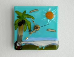 Fun in the Sun Fused Glass Clock Beach Stylized by FusedGlassRocks, $30.00