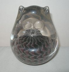 Mid Century OWL Sculpture MURANO or SWEDISH Glass PAPERWEIGHT Intricate DESIGNS