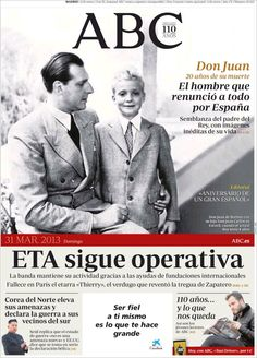 Los Titulares y Portadas de Noticias Destacadas Españolas del 31 de Marzo de 2013 del Diario ABC ¿Que le parecio esta Portada de este Diario Español?