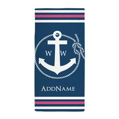 Rope Stripes and Anchor Monogram Beach Towel