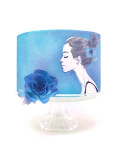 small cake with wafer paper print, wafer paper flower and sugar paste icing