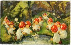 Vintage Illustration - Shop Vintage Victorian Fairies Postcard created by fantasyworld. Personalize it with photos Elsa Beskow, Serpentina, Elves And Fairies, Vintage Fairies, Old Postcards, Flower Fairies, Fairy Art, Cute Illustration, Fantasy Art