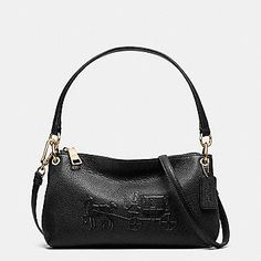 COACH Designer Crossbody | Embossed Horse And Carriage Charley Crossbody In Pebbled Leather