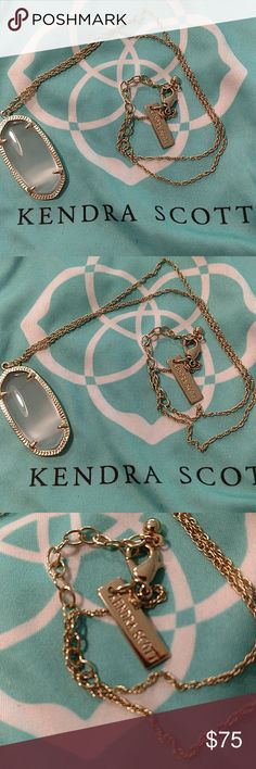 """Kendra Scott Gold & Smoky Quartz Necklace Excellent condition, no tarnish. Comes with Kendra Scott dust bag as shown. 16"""" chain with 2"""" extender. I *think* this is Rae, but I'm not 100% sure, so I didn't want to put it in the title. All pictures are of the actual item that you will receive. Smoke-free home. Kendra Scott Jewelry Necklaces"""