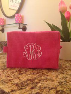 Monogrammed Waffle Cosmetic Bag Make Up Travel Bag Bridesmaid Gift on Etsy  https://www.etsy.com/shop/KaileysMonogramShop?ref=l2-shop-info-name