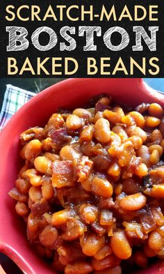 Homemade Boston Baked Beans from scratch! Dried Great Northern Beans slow-cook with bacon and molasses to make thick, rich, authentic Boston Baked Beans. Baked Beans Crock Pot, Best Baked Beans, Slow Cooker Baked Beans, Baked Beans With Bacon, Homemade Baked Beans, Beans In Crockpot, Bbq Beans, Baked Bean Recipes, Kale Recipes