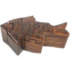 Handcrafted Sheesham Wood Fish Puzzle Box - Noahs Ark