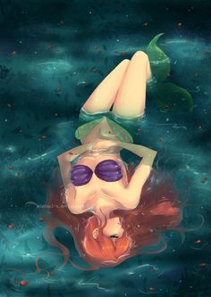 it's so cool how the tail becomes legs out of the water but stays a tail underwater at her torso and feet
