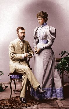 Formal photo of the engagement of Tsarevich Nicholas (later Tsar Nicholas II) with Princess Alix of Hesse (later Tsarina of Russia). 1894.