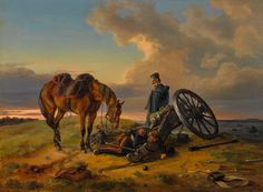 """Nachdenkliche Ruhe strahlt Albrecht Adams Gemälde """"Nach der Schlacht"""" aus. Es wurde für 26.000 Euro verkauft. Quelle: Neumeister"""