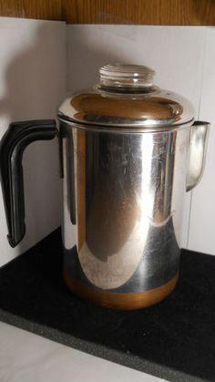 Vintage Revere Ware 8 Cup Stove Top Coffee Pot Percolator Copper Bottom