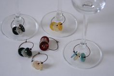 Button Wine Charms  Wine Glass Markers  made with by AngleAh, $12.00
