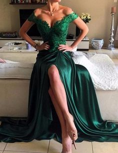 $169.99 Off Shoulder Lace Green Prom Dress,Front Slit Prom Evening Party Gowns,