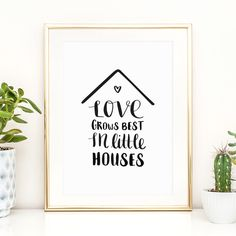 Digitaldruck - Poster, Liebe: Love grows best in little houses - ein Designerstück von Tales-by-Jen bei DaWanda