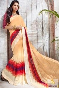 Indian modern fashion style beige color net georgette casual saree for birthday party online shopping collection in India. Pavitraa Fashion provide trendy sarees for festival. #saree, #casualsaree more: http://www.pavitraa.in/store/casual-saree/