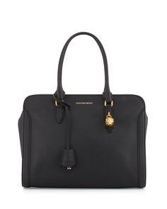 Calfskin Padlock Satchel Bag, Black - Alexander McQueen