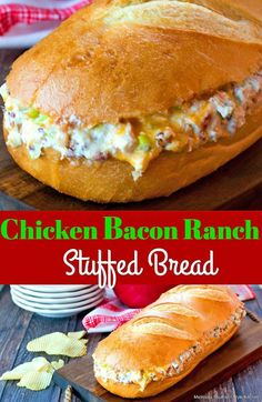 Whether you serve this cheesy stuffed Chicken Bacon Ranch Stuffed Bread for a meal or as an appetizer, the classic flavor combination is always a winner. Bacon Recipes, Chicken Recipes, Cooking Recipes, Stuffed Bread Recipes, Loaf Recipes, Chicken Ideas, Cooking Ideas, Healthy Recipes, Supper Recipes