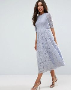 Asos Flutter Sleeve Lace Prom Dress