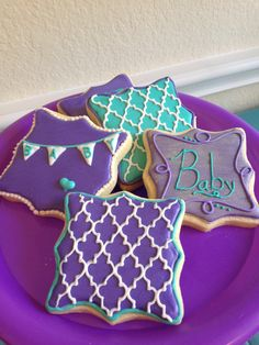 Turquoise and purple baby shower cookies
