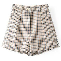SheIn(sheinside) Straight Fit Gingham Shorts ($25) ❤ liked on Polyvore featuring shorts, multi, high rise shorts, high waisted shorts, high-waisted shorts, high-rise shorts and highwaist shorts