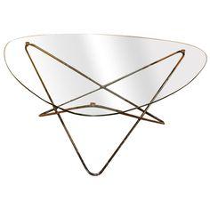 Table basse années 50, Pierre Guarche, Table basse, verre et laiton, Années 50, © theredlist.com