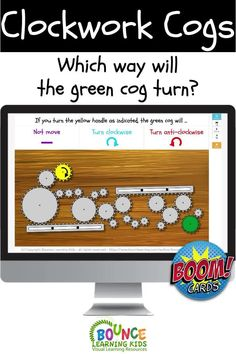 Study the layout of rotating and interconnecting cogs. When you turn the yellow handle, what will happen to the green cog? This is a fun physics game.