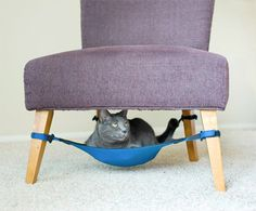Cat crib | I don't know if you're noticed but cats often like to sit underneath your chair. They probably feel safe there and they enjoy being close to you. Well, you could make sure they're also comfortable. This is a hammock that you can install under the chair. It's like a tiny crib for your cat or dog.