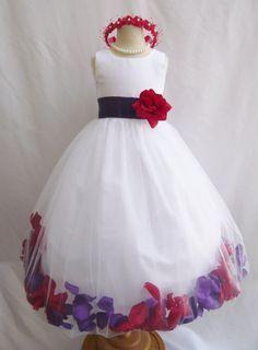 CUSTOM COLOR - Flower Girl Dresses Rose Petal - Wedding Easter Junior Bridesmaid - For Baby Infant Children Toddler Kids Teen Girls
