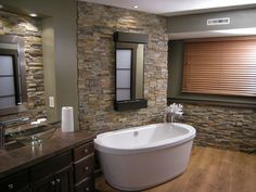 Stack Stone Bathroom Walls.  I'm so doing this in my bathroom.  I love it.