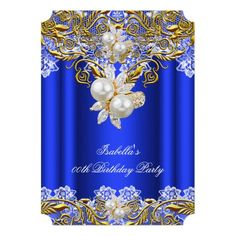Royal Blue Gold Pearl Elegant Birthday Party 2 Custom Invitation