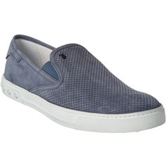 Tod's Perforated Suede Slip-On Sneaker (4,555 MXN) ❤ liked on Polyvore featuring men's fashion, men's shoes, men's sneakers, grey, mens grey shoes, mens slip on sneakers, mens gray shoes, mens slip on shoes and tods mens sneakers