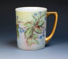 Vintage Hand Painted Signed Porcelain Mug/Cup with blueberries by DejaVuPorcelain
